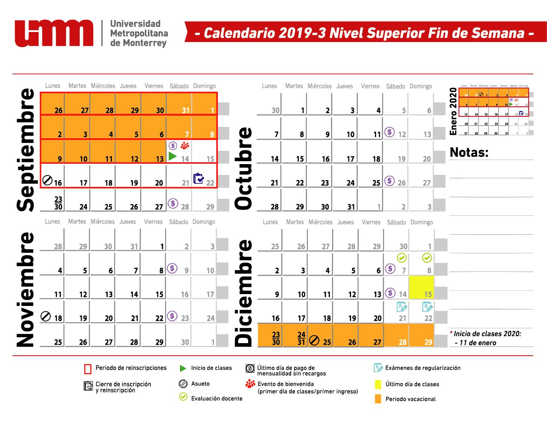 Calendario Fin De Semana 2019.Calendario Umm